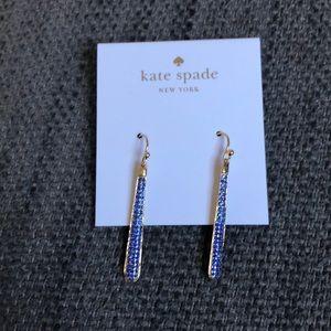 NWT Kate Spade Shine On Pave linear earrings, blue